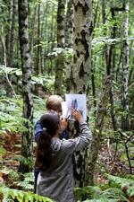 Enfants qui dessinent en forêt