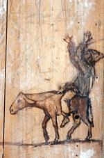 Peinture murale à l'étage de l'auberge Ganne.