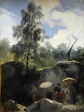 Jules Coignet (1798-1860), Les Peintres sur le motif dans la forêt de Fontainebleau.