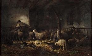 Charles Jacque, Intérieur de bergerie.