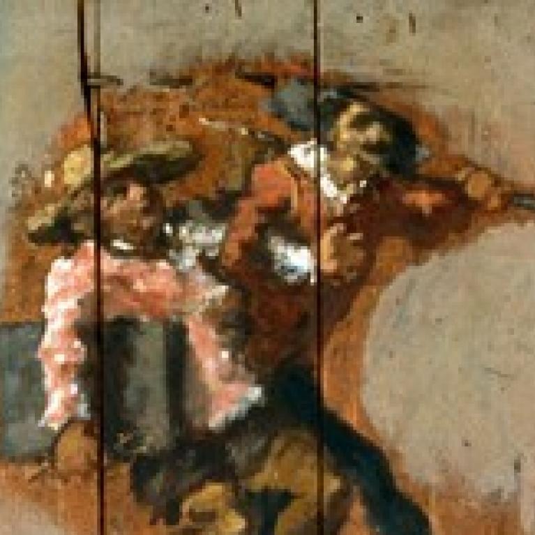Détail du panneau La Danse autour du punch Attribué à Jean-Baptiste Carpeaux.