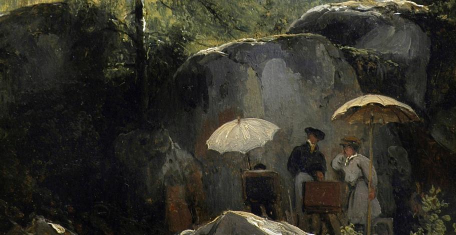 Détail du tableau Les Peintres sur le motif dans la forêt de Fontainebleau.